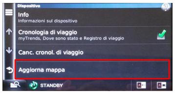 """Selezionare l'Opzione """"Aggiorna Mappe"""""""